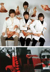 les Beatles costumés en bouchers et Andy Summers avec des oeufs