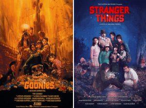 Les affiches des Goonies et de Stranger things